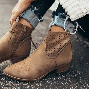 Taupe Braided Tassel Details bootie boots